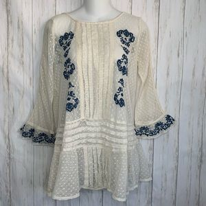 Free People Blouse Lace Embroidered Bell Sleeve